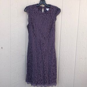 Plum Lace Keyhole Back Dress